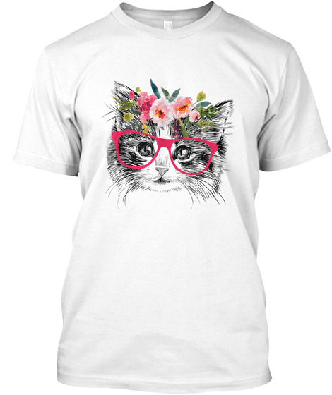 Funny Hipster Cat Lover Glasses Summer F White T-Shirt Front