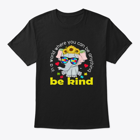 Autism Awareness Elaphant Sunflower Gift Black T-Shirt Front