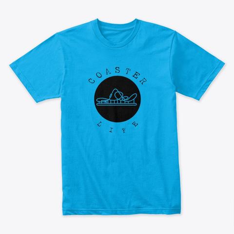 Coaster Life Black Icon Design Turquoise T-Shirt Front