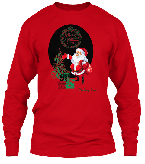 Merry Christmas Holiday Jees Red Long Sleeve T-Shirt Front