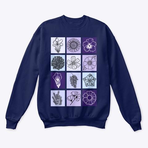 Purple Flower Doodle Art  Navy  T-Shirt Front