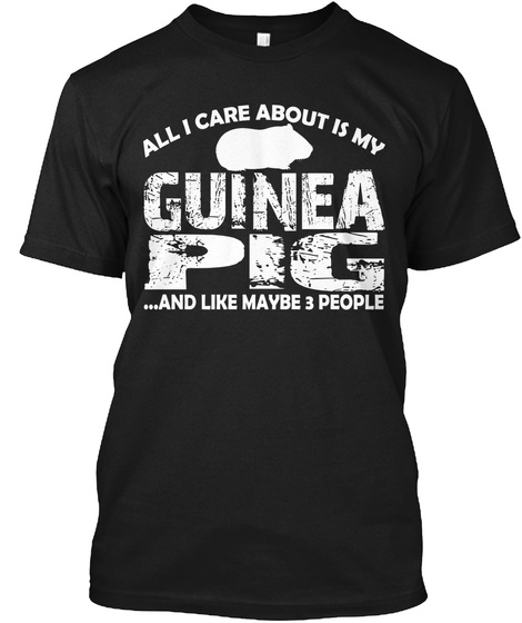 All I Care About Is My Guinea Pig... And Like Maybe 3 People Black T-Shirt Front