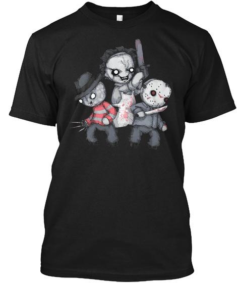 Horror Trifecta Plushie Black T-Shirt Front