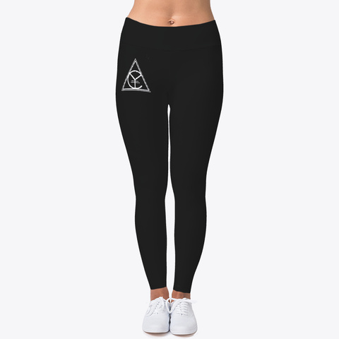 Women's Logo Design Leggings Black T-Shirt Front