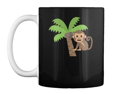 Monkey Cartoon Black T-Shirt Front