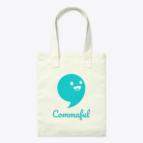 Commaful Tote Bag Natural T-Shirt Front