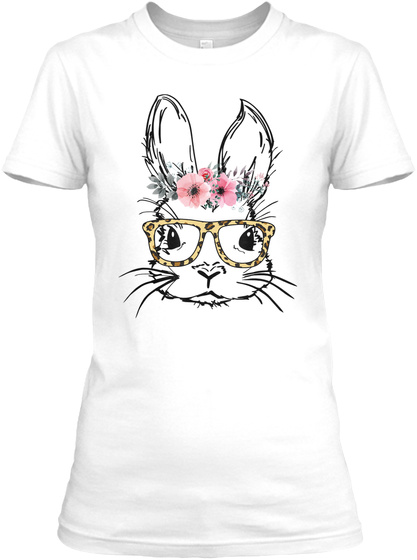 Easter Bunny Face Leopard Print Glasses White T-Shirt Front