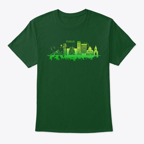 Dublin Skyline Ireland Tourist Gift Deep Forest T-Shirt Front