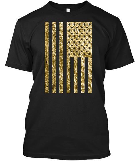 American Flag Gold Foil Vertical Black T-Shirt Front
