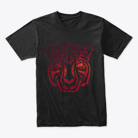 Cosmic Tribal Tiger Black T-Shirt Front
