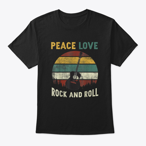 Peace Love Rock And Roll Guitar Lover Black T-Shirt Front