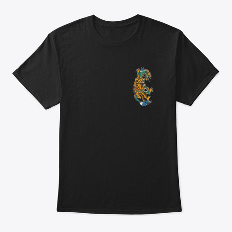 Chinese Dragon Tiger Black T-Shirt Front