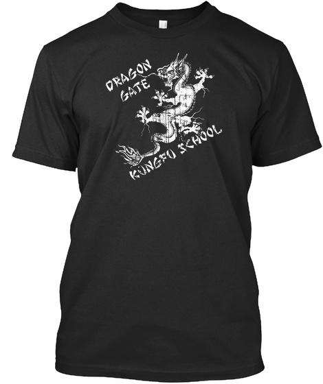 Dragon Gate Kungfu School Black T-Shirt Front