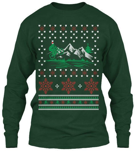 Best Ugly Christmas Mountain Bike Shirt Forest Green Long Sleeve T-Shirt Front