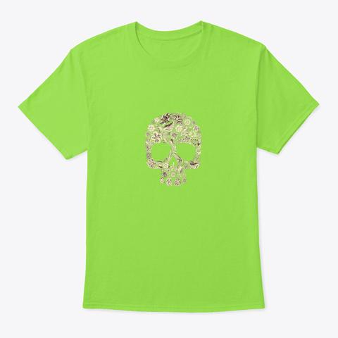 Spider   Skull Bone Art Gift Flowers Pl Lime T-Shirt Front