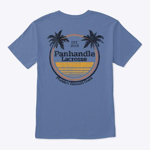 Curved Palms Denim Blue T-Shirt Back