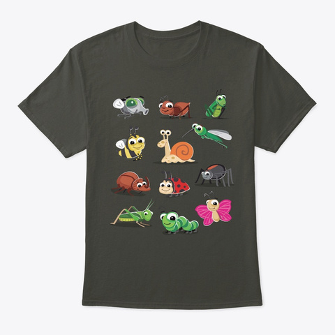 Twelve Cute Insects Smoke Gray T-Shirt Front