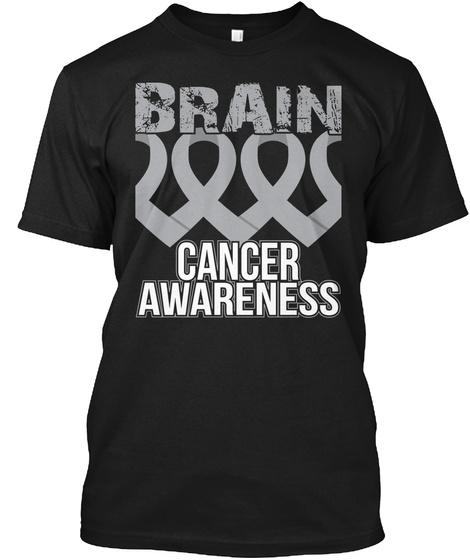 Brain Cancer Awareness V2 Black T-Shirt Front