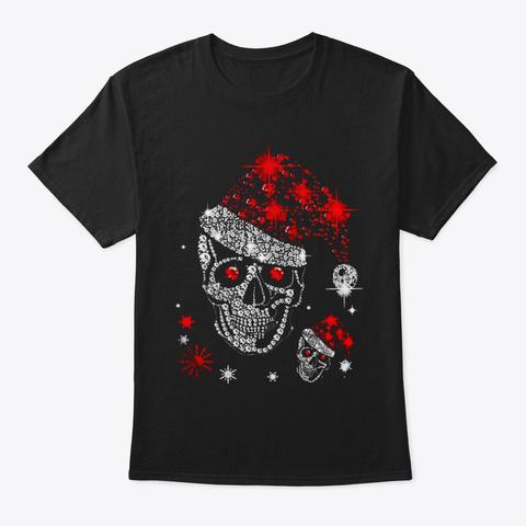 Skull Diamond Christmas With Santa Hat Black T-Shirt Front