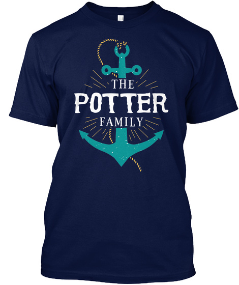 The Potter Family Anchor Last Name Surname Reunion Shirt Gift Navy T-Shirt Front