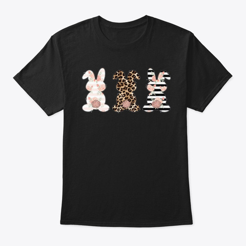 Easter Shirts For Women Bunny Printing S Black T-Shirt Front