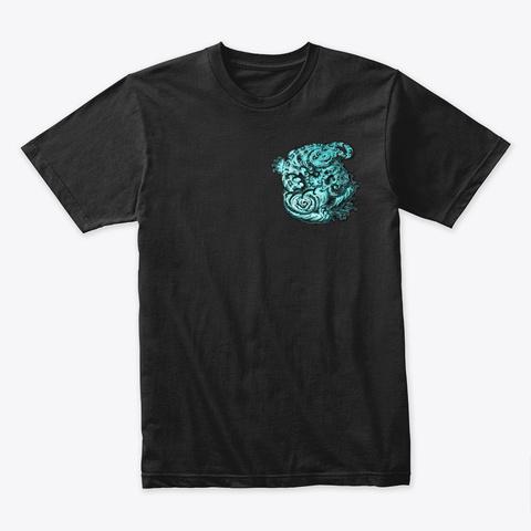 Blue Tiger Black T-Shirt Front