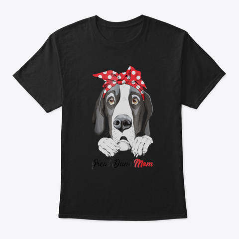 Great Dane Mom Red Bandana Women Tshirt  Black T-Shirt Front
