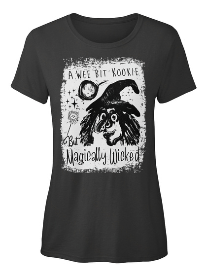 Magically Wicked Kookie Halloween Witch Black T-Shirt Front