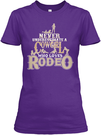 I Love Rodeo. Purple T-Shirt Front