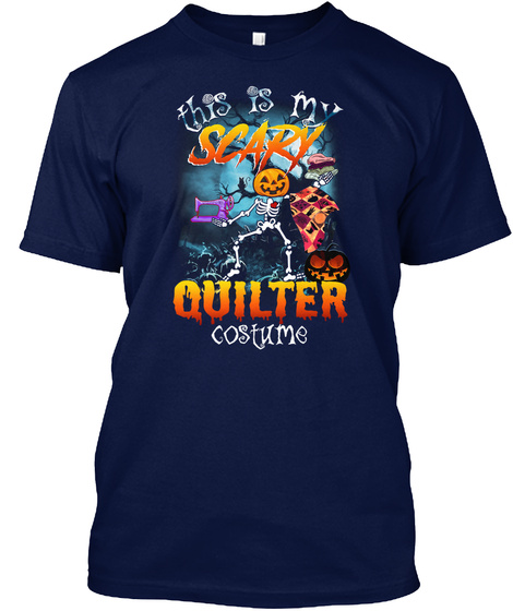 Halloween Quilting Navy T-Shirt Front