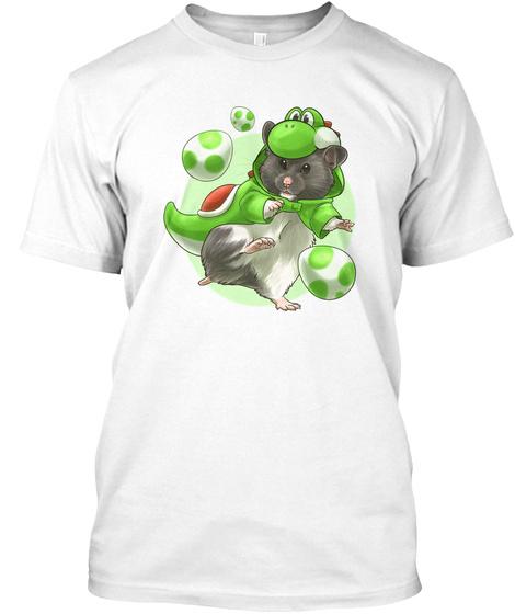 Dinosaur Hamster White T-Shirt Front