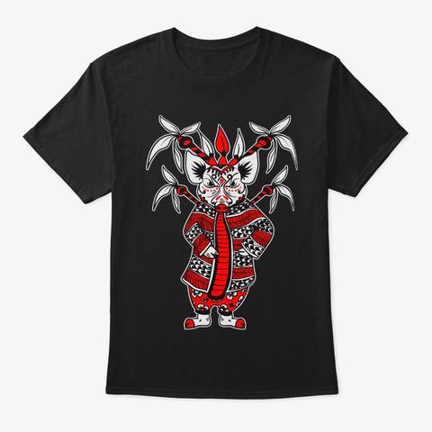 Pig Lunar New Year Chinese Opera Zodiac Black áo T-Shirt Front