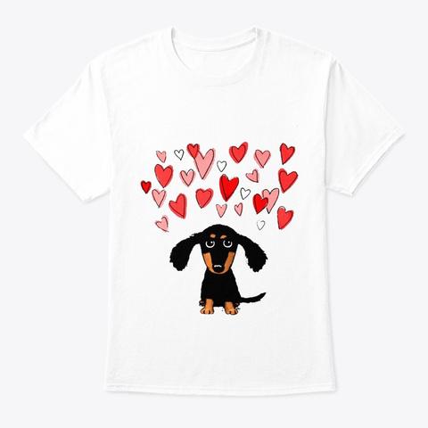 Cute Dachshund Wiener White T-Shirt Front