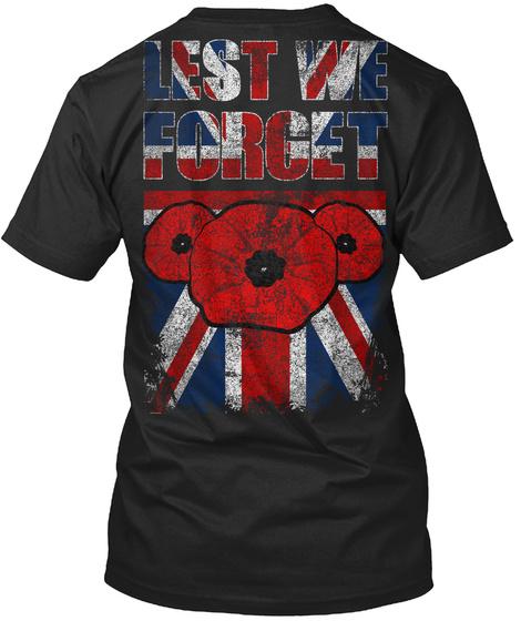 Lest We Forget Black T-Shirt Back