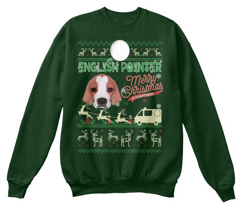 English Pointer   Merry Christmas Deep Forest  T-Shirt Front