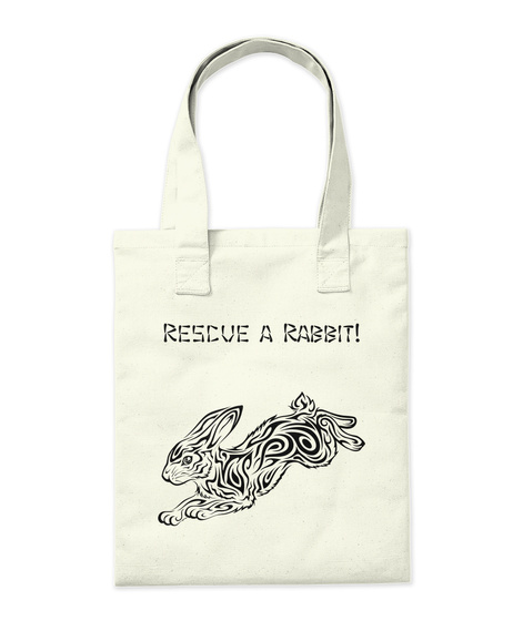 Rescue A Rabbit! Natural Tote Bag Back