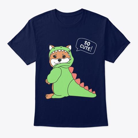 Dog Shiba Inu Dog So Cute Navy T-Shirt Front