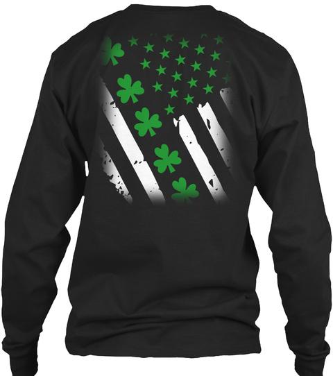 Irish Usa Flag  St.Patricks Day  T Shirt Black T-Shirt Back