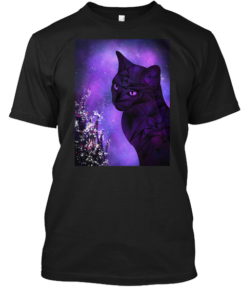 Abstract Cat Design Black T-Shirt Front