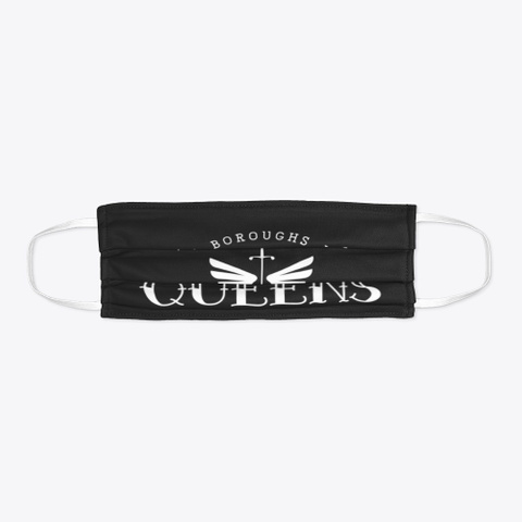 Queens White Logo Black T-Shirt Flat