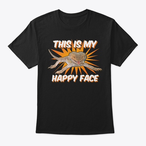 This Is Bearded Dragon Happy Face Black T-Shirt Front