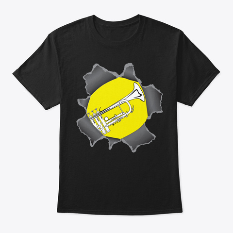 [Brass] Trumpet   Ripped Shirt Black T-Shirt Front