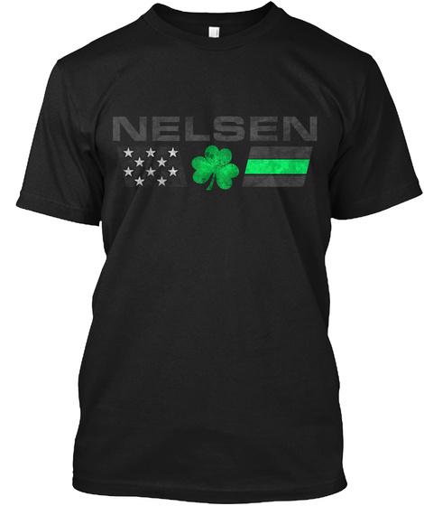 Nelsen Family: Lucky Clover Flag Black T-Shirt Front