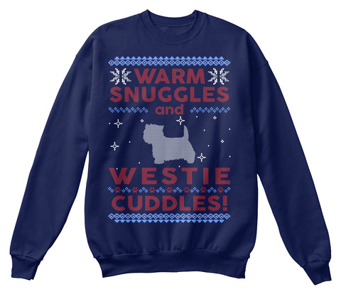 Westie Ugly Christmas Sweater Navy  T-Shirt Front
