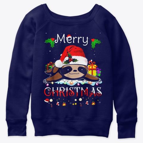 Christmas Sloth Merry Women Girls Kids Navy  T-Shirt Front