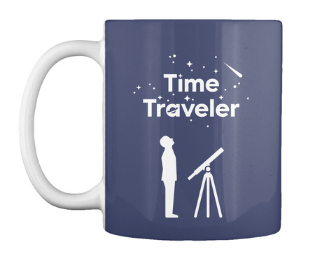 Time Traveler Man Mug [Usa] #Sfsf Dk Navy Mug Front