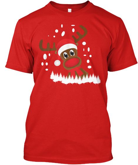 Reindeer Tee Christmas Tshirt #Boosted Eu Red T-Shirt Front