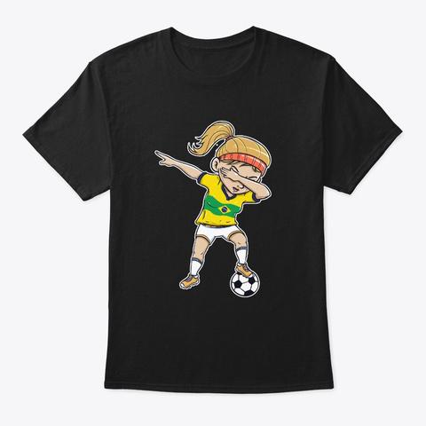 Dabbing Soccer Player Funny Brazil Fan Black T-Shirt Front
