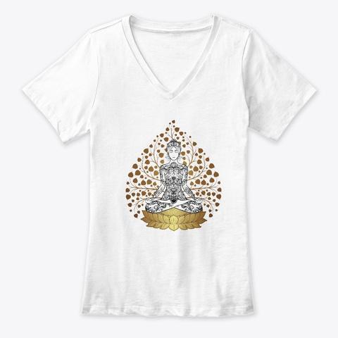 Meditation Golden Leaves White T-Shirt Front