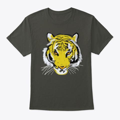 Mens Standard Weight T Shirt Tiger Smoke Gray T-Shirt Front
